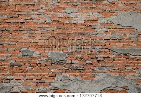 Background with the red old brick wall