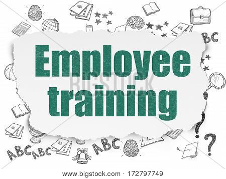 Education concept: Painted green text Employee Training on Torn Paper background with  Hand Drawn Education Icons