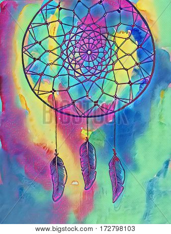 Dreamcatcher ink abstract illustration. Digital illustration of a tribal dreamcatcher. Braided net in circle. Indian dreamcatcher with feather pendants. Neon paint washes and ink drawing picture
