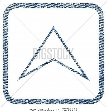 Arrowhead Up vector textured icon for overlay watermark stamps. Blue jeans fabric vectorized texture. Symbol with scratched design inside rounded rectangle.