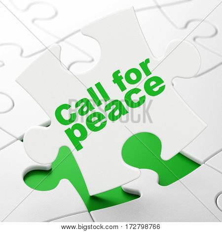 Politics concept: Call For Peace on White puzzle pieces background, 3D rendering