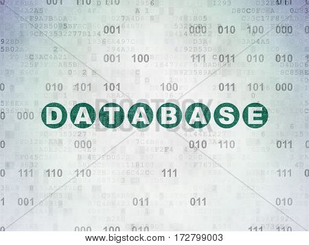Software concept: Painted green text Database on Digital Data Paper background with Binary Code