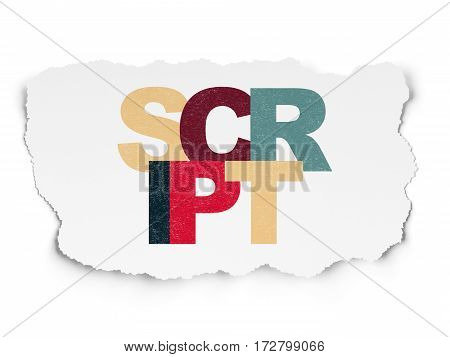 Software concept: Painted multicolor text Script on Torn Paper background