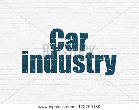 Manufacuring concept: Painted blue text Car Industry on White Brick wall background