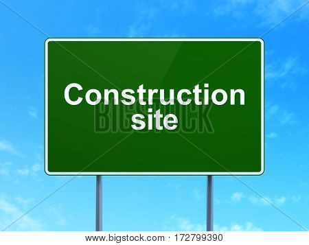 Building construction concept: Construction Site on green road highway sign, clear blue sky background, 3D rendering