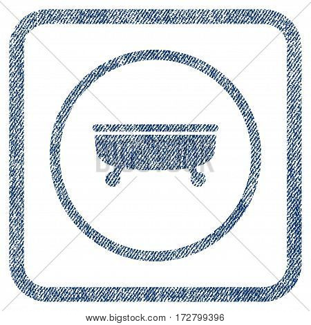 Bathtub vector textured icon for overlay watermark stamps. Blue jeans fabric vectorized texture. Symbol with dirty design inside rounded rectangle.