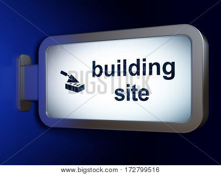 Constructing concept: Building Site and Brick Wall on advertising billboard background, 3D rendering