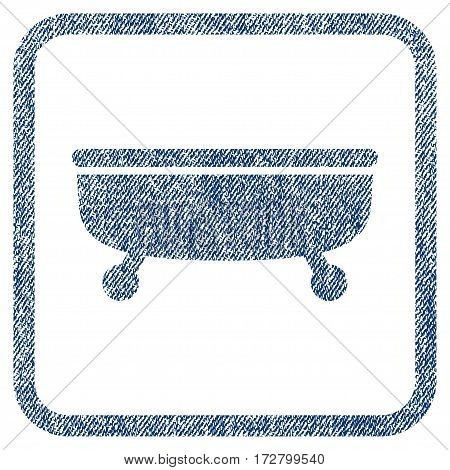 Bathtub vector textured icon for overlay watermark stamps. Blue jeans fabric vectorized texture. Symbol with unclean design inside rounded rectangle.