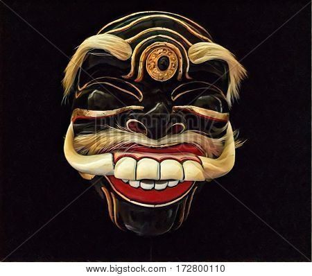 Tribal mask with smile and white teeth. Human face mask with sharp fangs. Ethnic mask with painted face. Positive emotion mask. Laughing expression on face. Wooden mask for theater performance