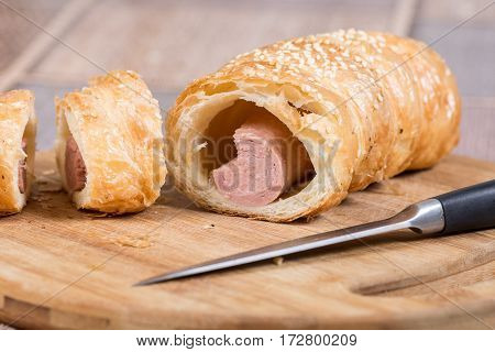 Flat Lay Puff Pastry On The Wooden Board
