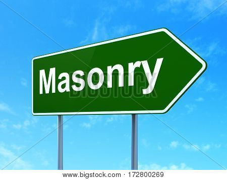 Construction concept: Masonry on green road highway sign, clear blue sky background, 3D rendering
