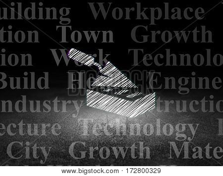 Construction concept: Glowing Brick Wall icon in grunge dark room with Dirty Floor, black background with  Tag Cloud