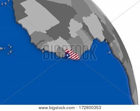 Liberia And Its Flag On Globe