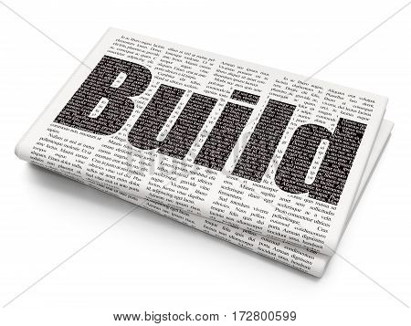 Construction concept: Pixelated black text Build on Newspaper background, 3D rendering