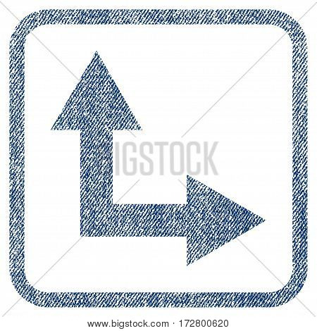 Bifurcation Arrow Right Up vector textured icon for overlay watermark stamps. Blue jeans fabric vectorized texture. Symbol with dust design inside rounded rectangular frame.