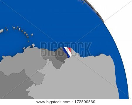 French Guiana And Its Flag On Globe