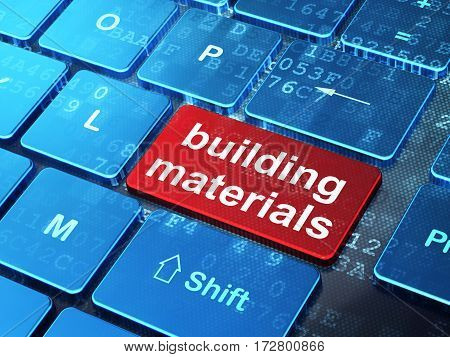 Building construction concept: computer keyboard with word Building Materials on enter button background, 3D rendering