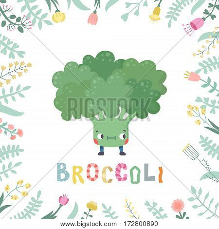 Cute cartoon broccoli illustration with flowers and lettering. Funny character in nice colors.