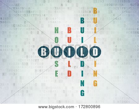 Constructing concept: Painted blue word Build in solving Crossword Puzzle on Digital Data Paper background
