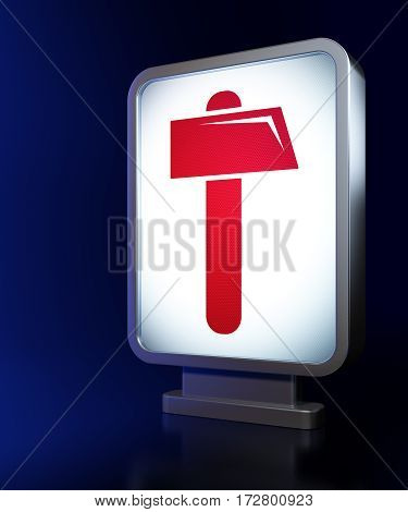 Building construction concept: Hammer on advertising billboard background, 3D rendering