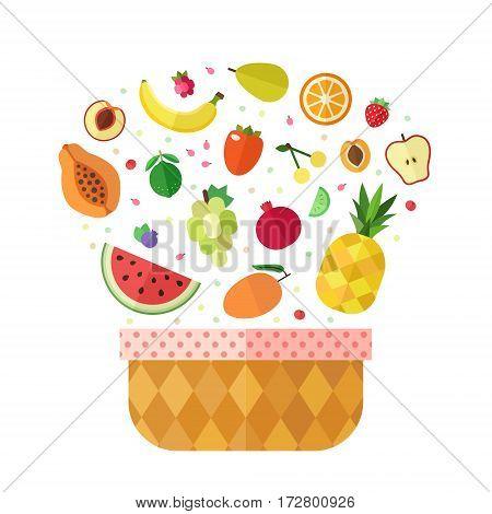 Fruit basket flat style illustration (isolated). Menu design elements.