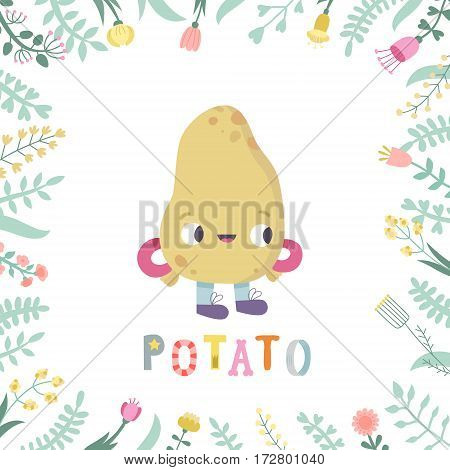 Cute cartoon potato illustration with flowers and lettering. Funny character in nice colors.