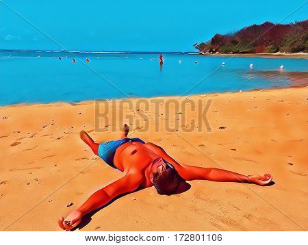 Man resting on beach by sea. Summer holiday digital illustration. Boy sleeps under sun. Tan person in swim shorts. Male tourist relax by seaside. People on vacation. Tropic beach view with text place