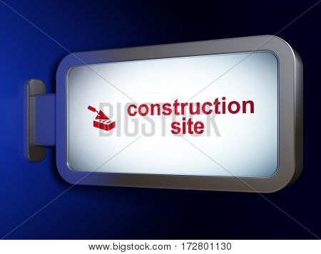 Construction concept: Construction Site and Brick Wall on advertising billboard background, 3D rendering