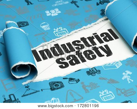 Building construction concept: black text Industrial Safety under the curled piece of Blue torn paper with  Hand Drawn Building Icons, 3D rendering