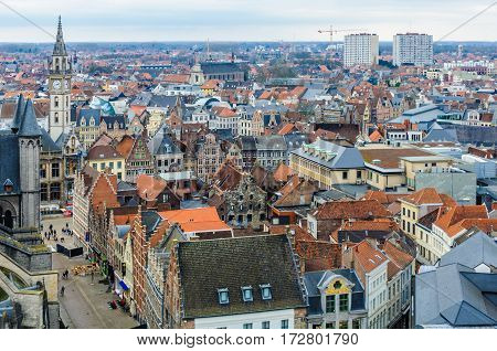 Aerial View Of The Old Town In Ghent, Belgium
