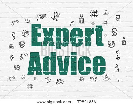 Law concept: Painted green text Expert Advice on White Brick wall background with  Hand Drawn Law Icons