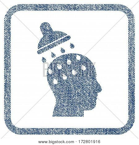 Brain Washing vector textured icon for overlay watermark stamps. Blue jeans fabric vectorized texture. Symbol with dirty design inside rounded rectangle.