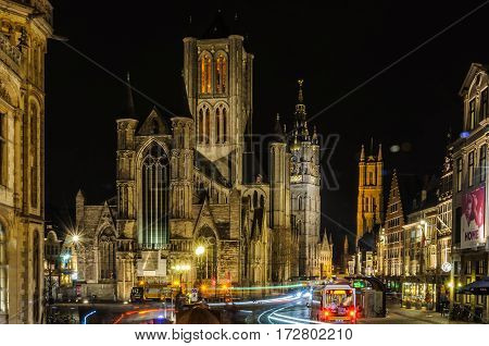 GHENT, BELGIUM - JANUARY 28, 2017: The three towers at night in Ghent Flanders Belgium