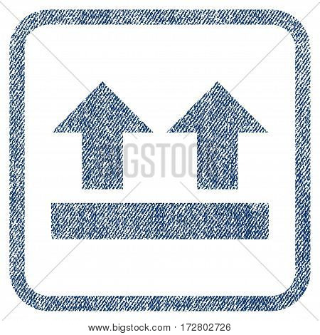 Bring Up vector textured icon for overlay watermark stamps. Blue jeans fabric vectorized texture. Symbol with dirty design inside rounded rectangle.