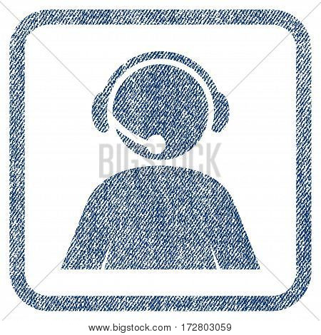 Call Center Operator vector textured icon for overlay watermark stamps. Blue jeans fabric vectorized texture. Symbol with dust design inside rounded rectangular frame.