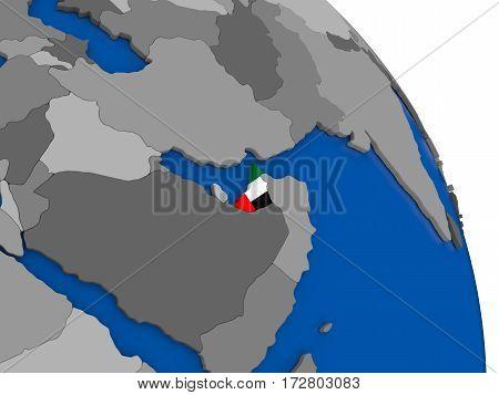 United Arab Emirates And Its Flag On Globe