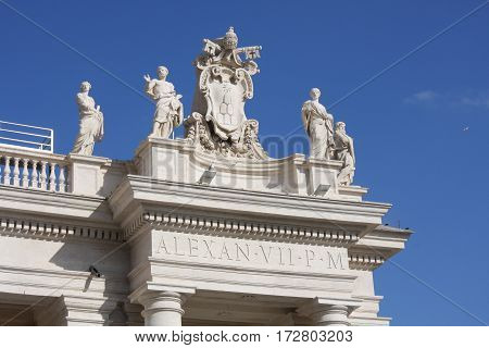 Bernini's colonnades and Saint Peter's (San Pietro) basilica in Vatican City in Rome Italy