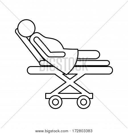 medical stretcher with patient isolated icon vector illustration design
