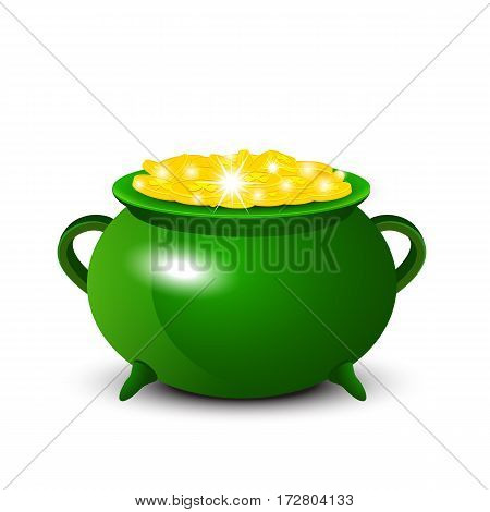 Patrick Day background with cauldron of gold coins. Vector illustration.