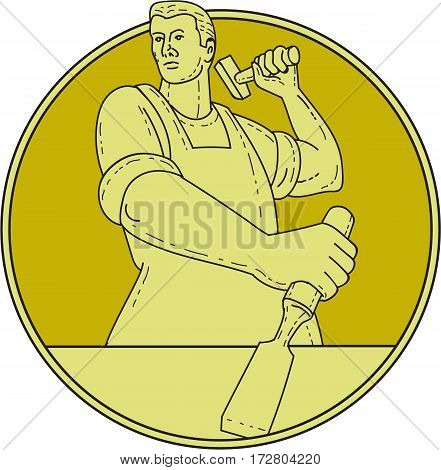 Mono line style illustration of a carpenter carver holding hammer and chisel chiseling looking to the side viewed from front set inside circle on isolated background.