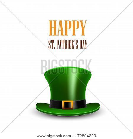 Green St. Patrick Day hat. St.Patrick day greeting. Happy St Patricks day card.