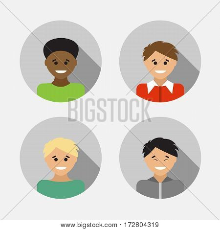 Flat design avatar set of multiracial people. Vector illustration.