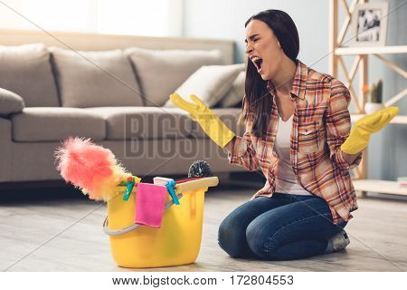 Beautiful Woman Cleaning