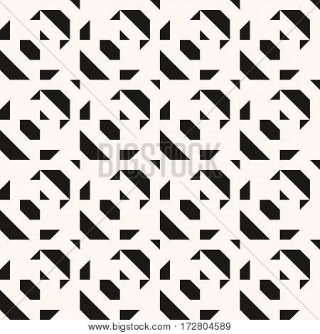 Abstract geometric blocked pattern with random geometric shapes. Vector seamless abstract print in op art style with blocks of random sizes. Monochrome bold textile design for summer fall fashion
