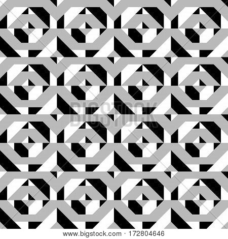 Vector geometric seamless pattern with line and geometric shapes in black and white. Modern bold monochrome print with diamond shapes for fall winter fashion. Abstract dynamic tech op art background