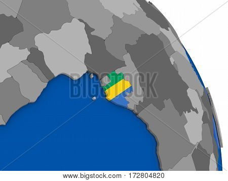 Gabon And Its Flag On Globe