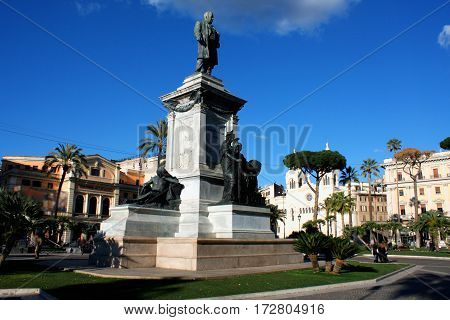 Monument to Cavour on the square of its name in Rome Italy
