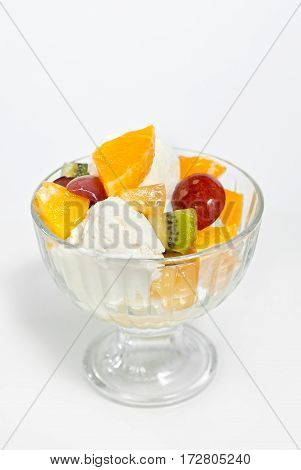 Ice Cream With Fruit In A Glass