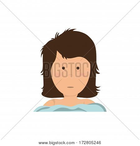 Insomnia woman cartoon icon vector illustration graphic design