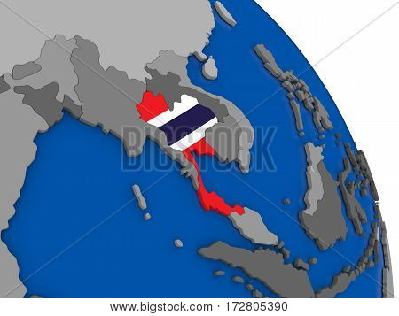 Thailand And Its Flag On Globe